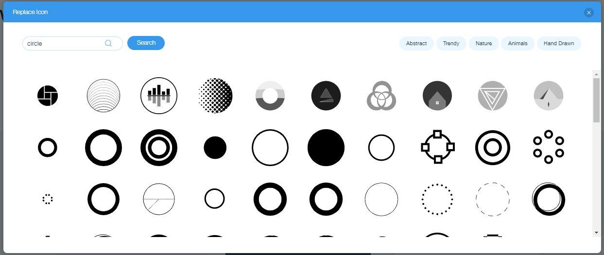Wix Logo Maker screenshot - Circle icons