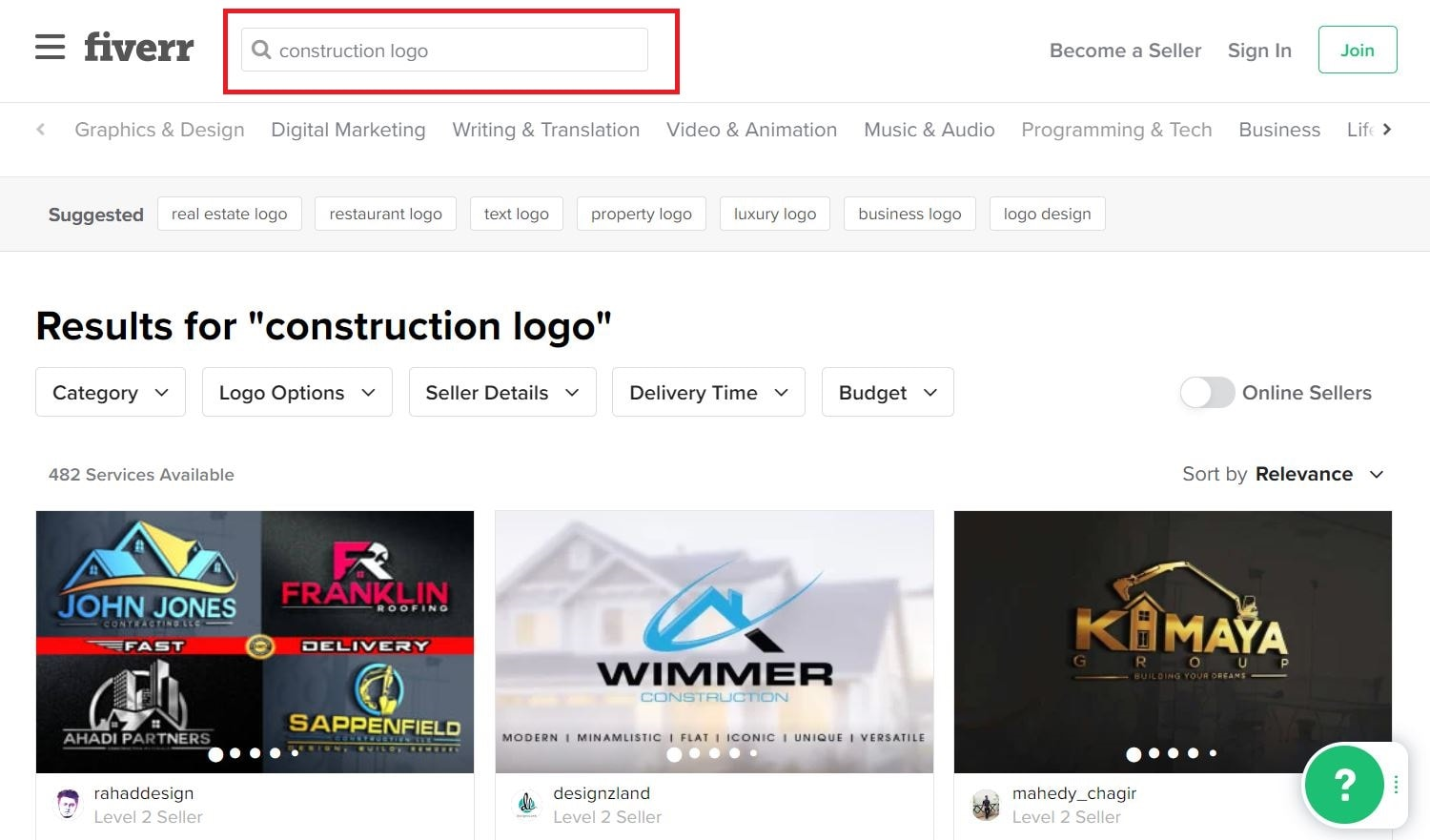 Fiverr screenshot - Construction logo designers
