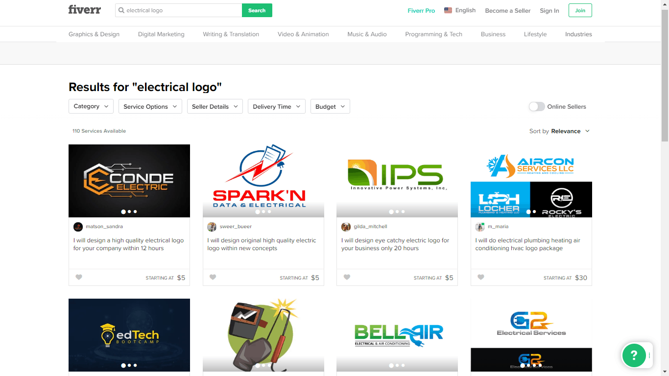 Fiverr screenshot - Electrical logo designers