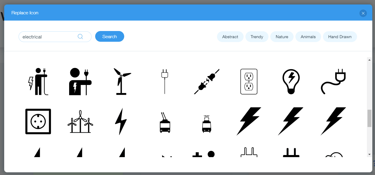 Wix Logo Maker screenshot - Electrical icons