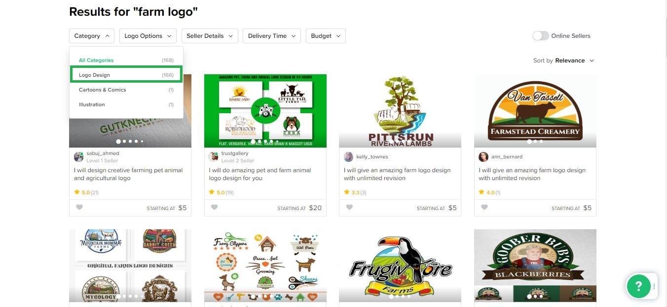 Fiverr screenshot - Farm logo designers