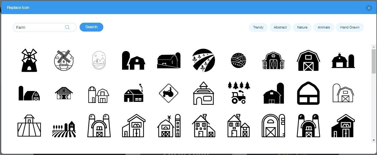 Wix Logo Maker screenshot - farm icons