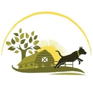 Farm logo - Barn with jumping dog