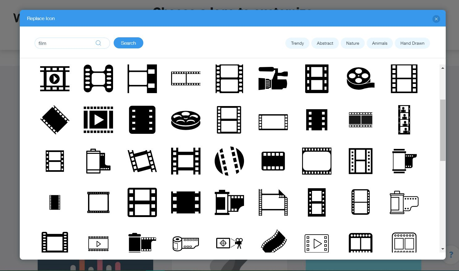 Wix Logo Maker screenshot - Film icons