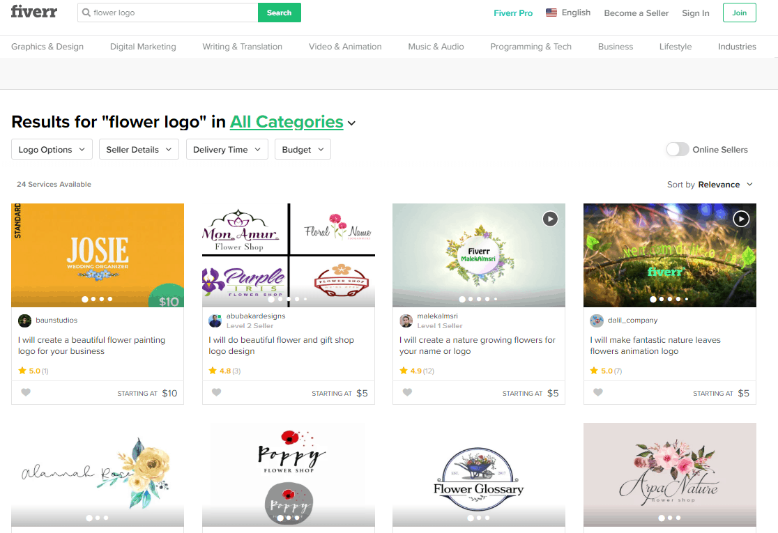 Fiverr screenshot - Flower logo designers