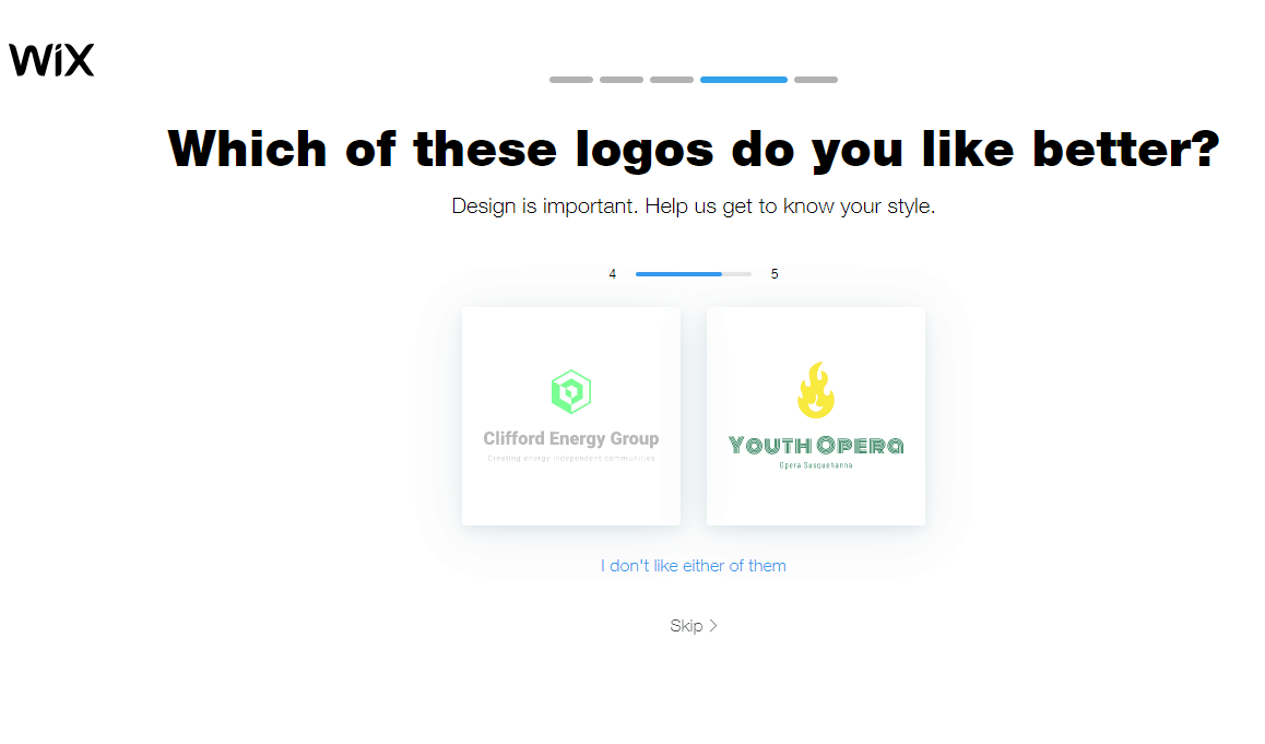 Wix Logo Maker screenshot - Which logo do you like better