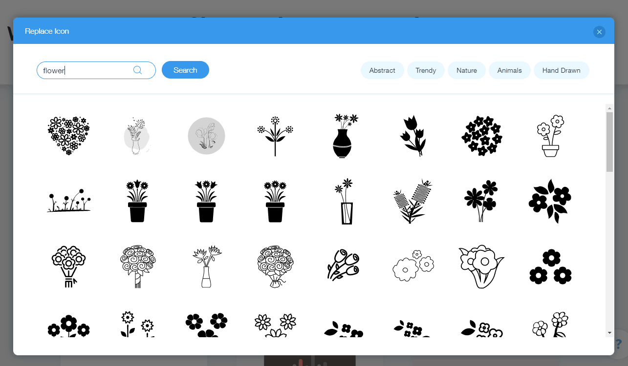 Wix Logo Maker screenshot - Flower icons
