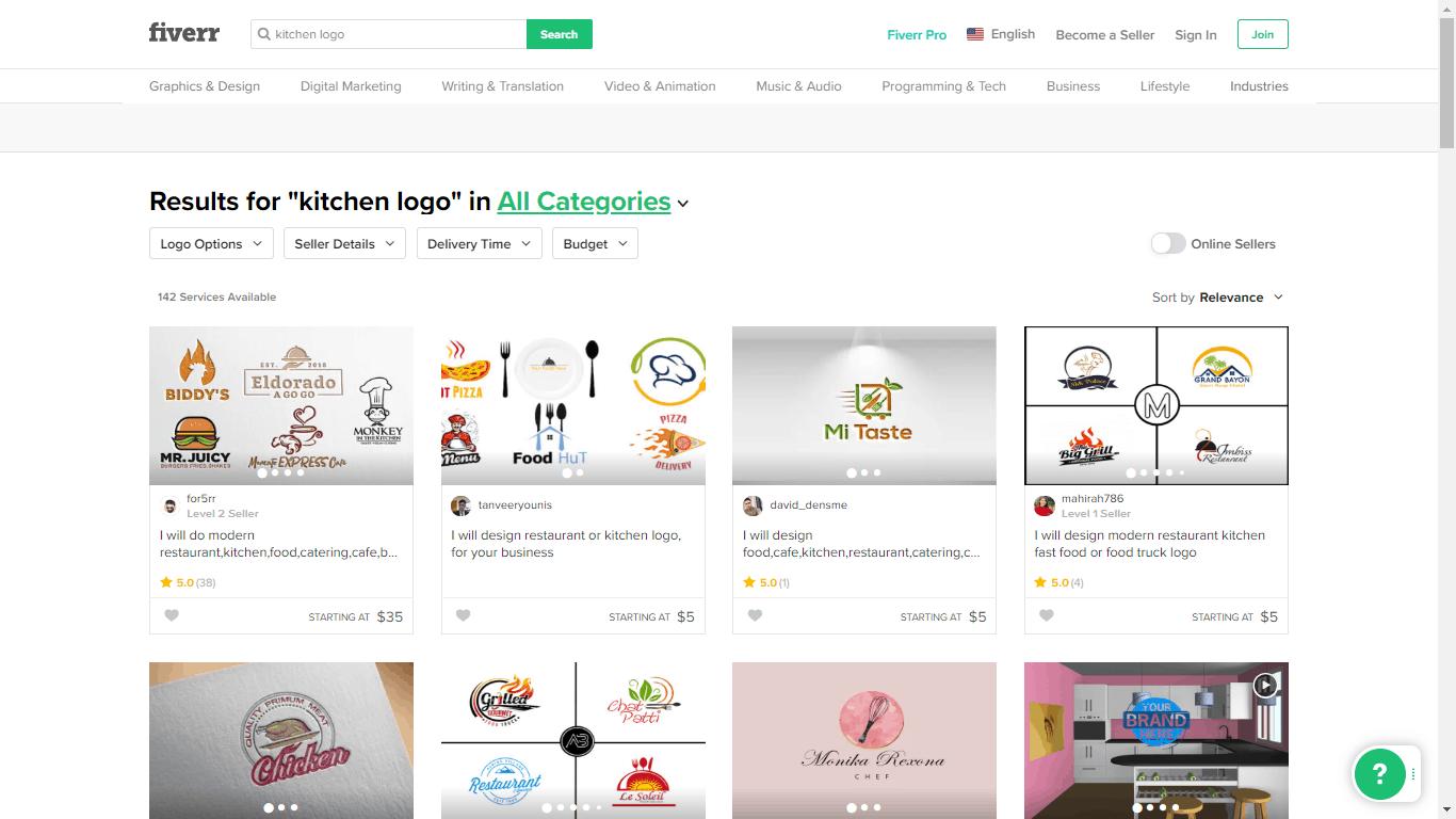 Fiverr screenshot - Kitchen logo designers