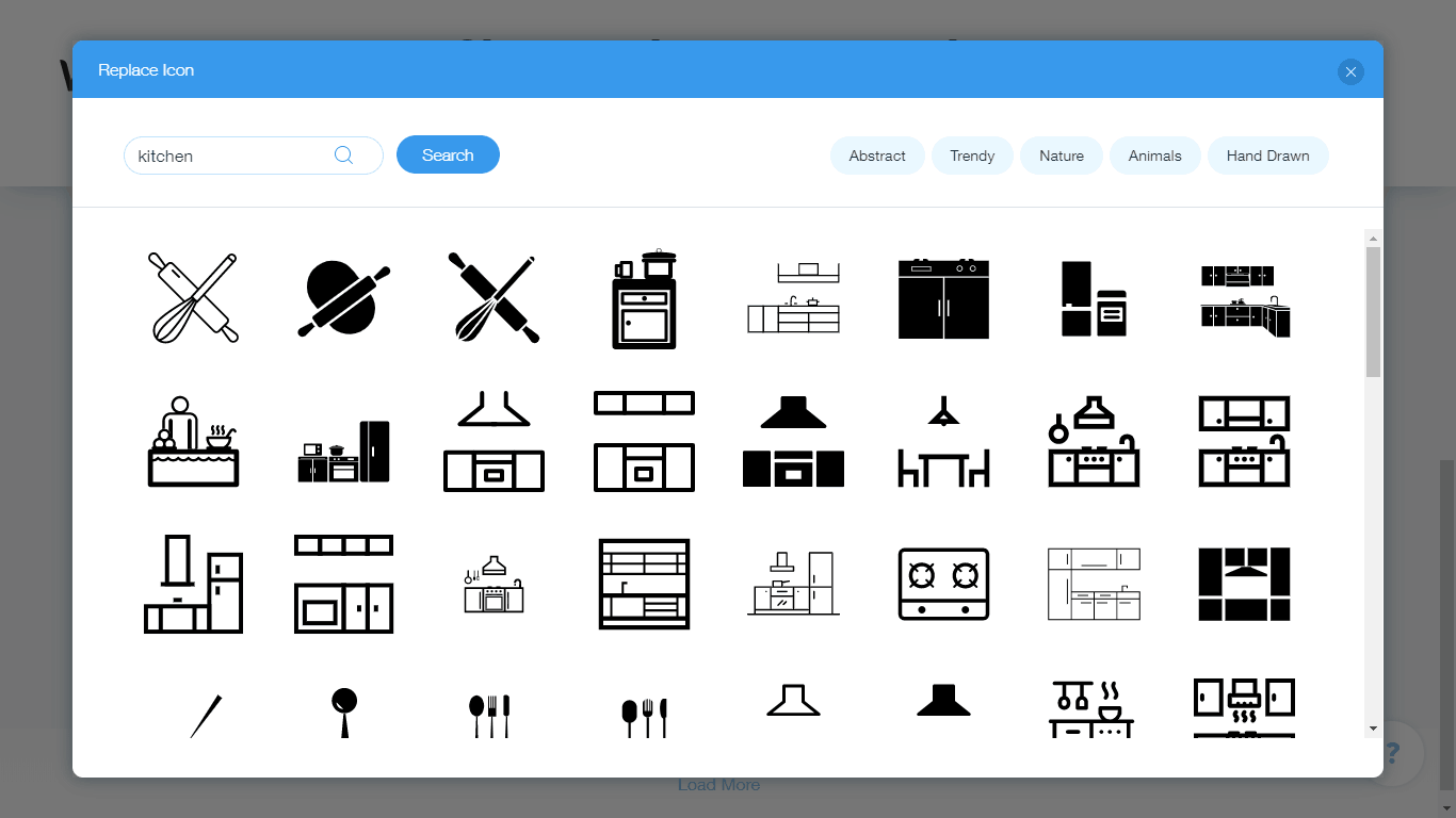 Wix Logo Maker screenshot - Kitchen icons