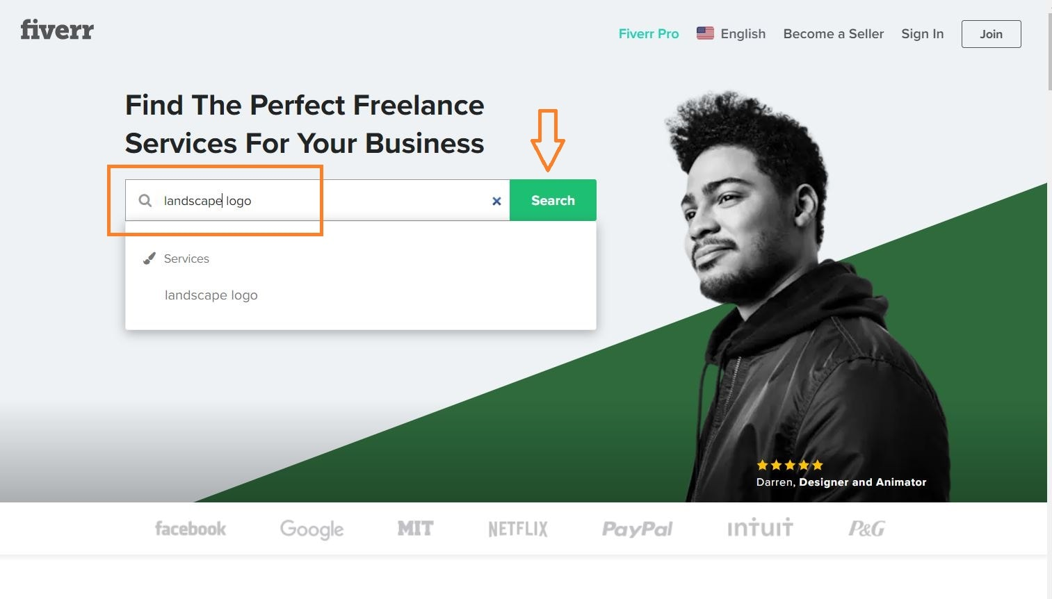 Fiverr screenshot - homepage search