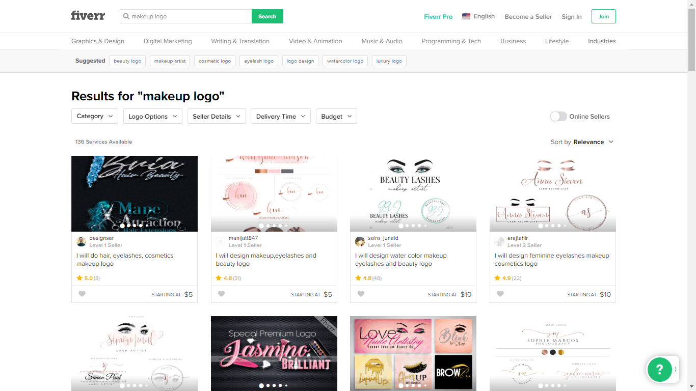 Fiverr screenshot - Makeup logo designers