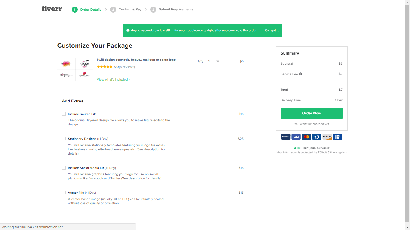 Fiverr screenshot - Package customization