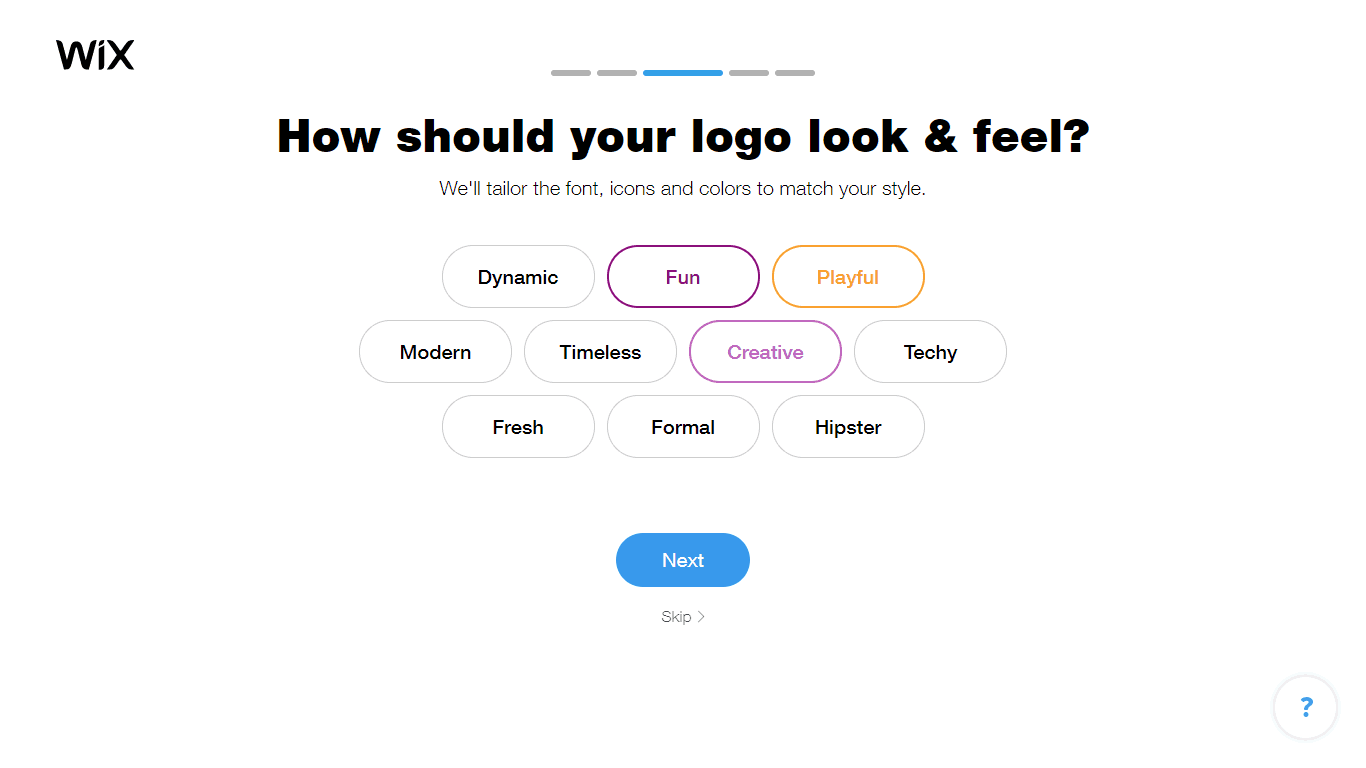 Wix Logo Maker screenshot - Look and feel