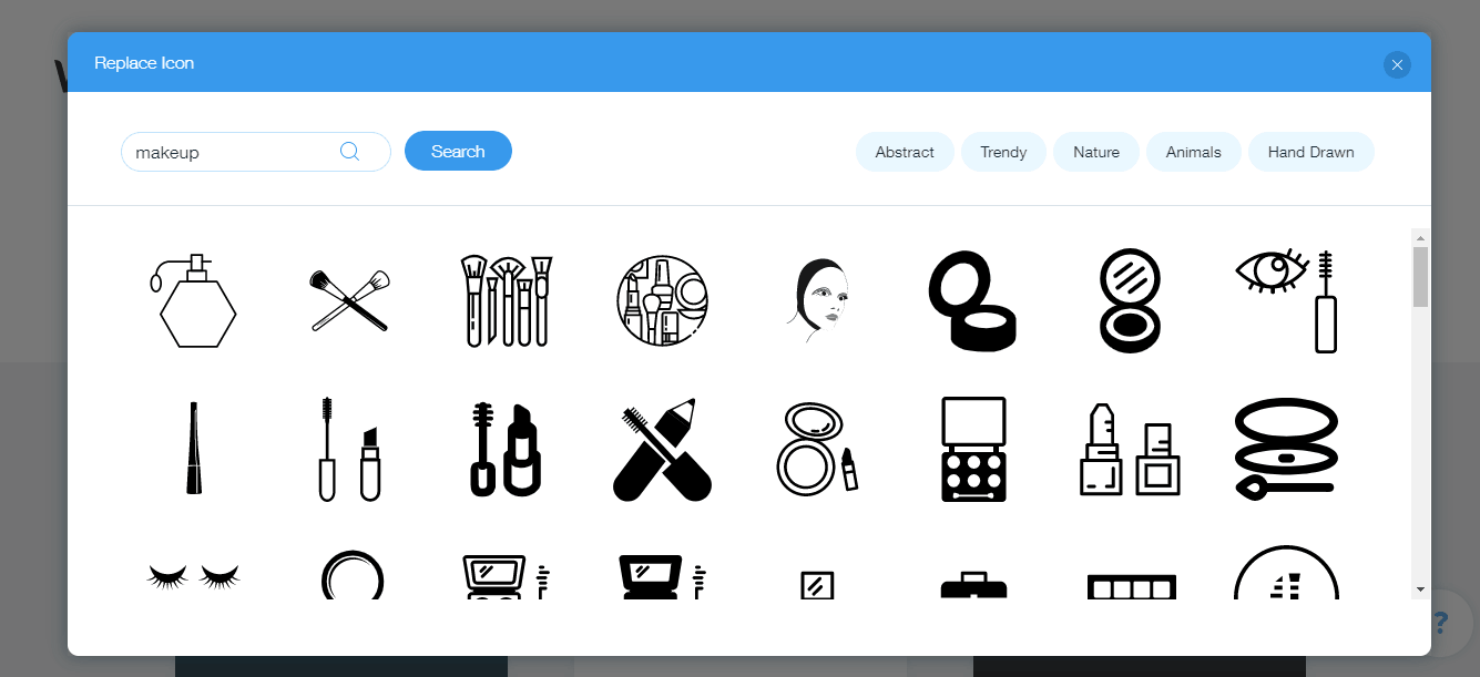 Wix Logo Maker screenshot - Makeup icons