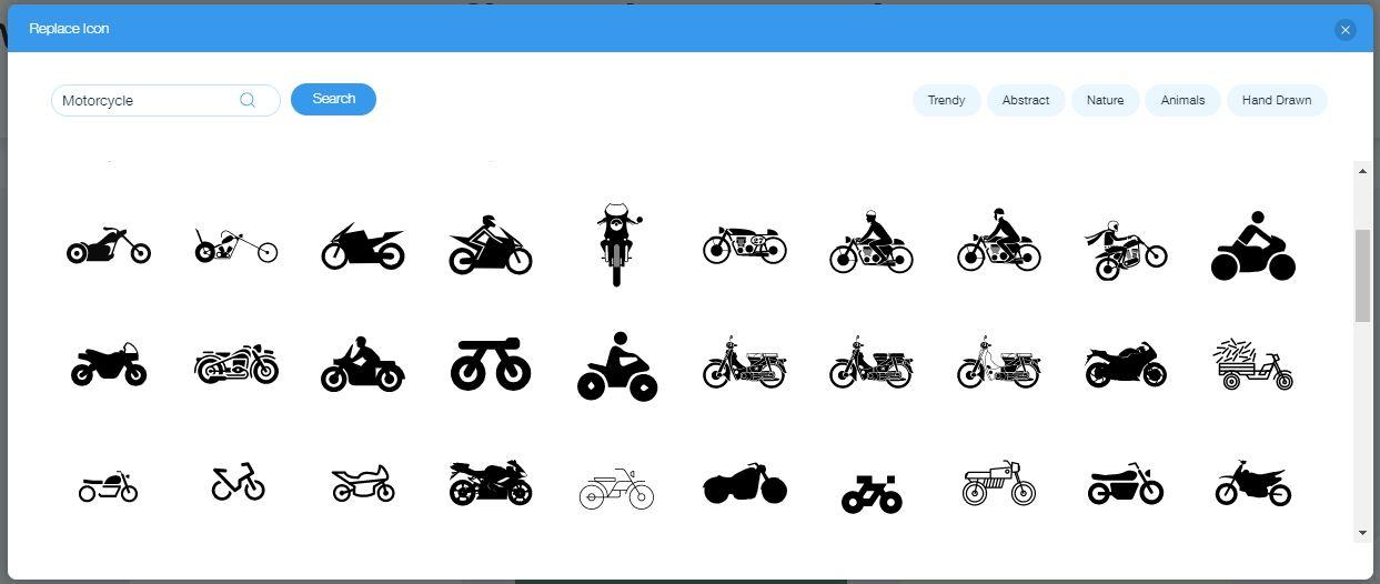 Wix Logo Maker screenshot - motorcycle icons
