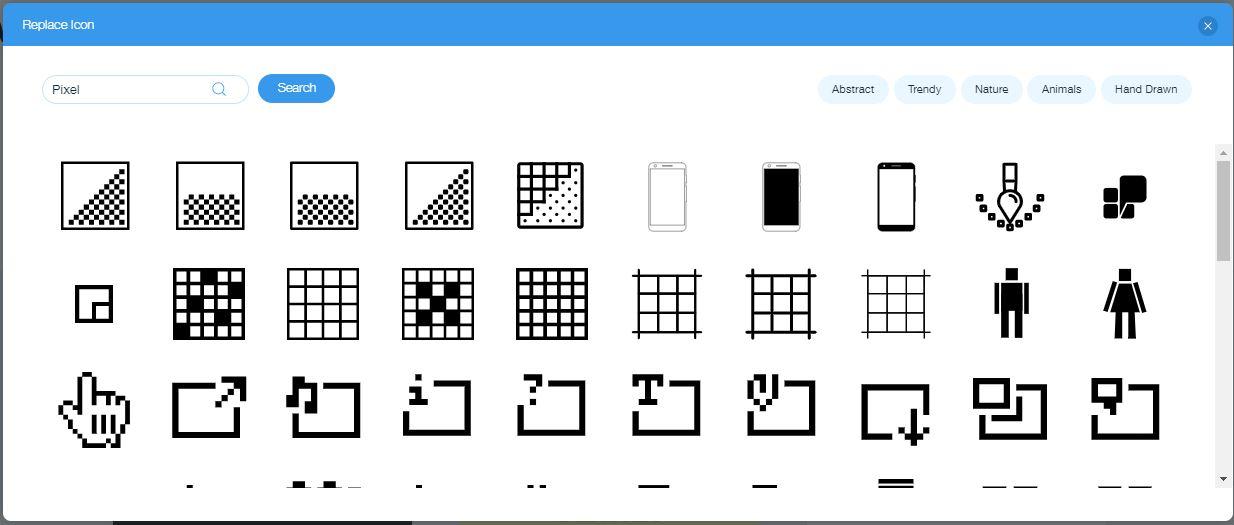 Wix Logo Maker screenshot - Pixel icons