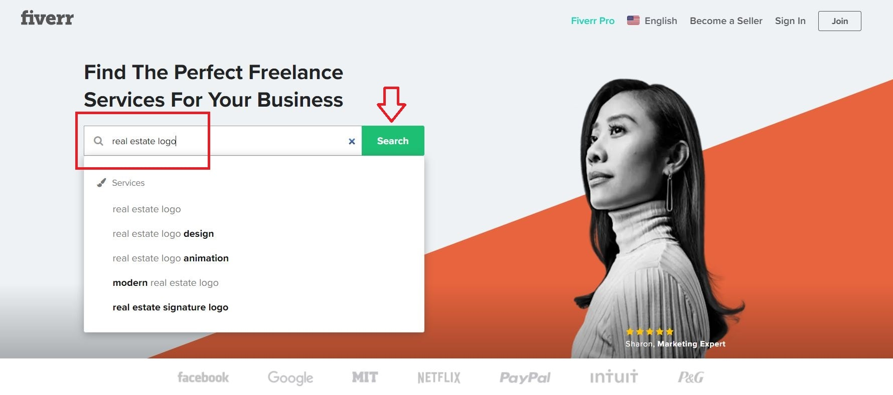Fiverr screenshot - homepage search bar
