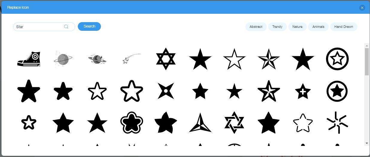 Wix Logo Maker screenshot - Star icons