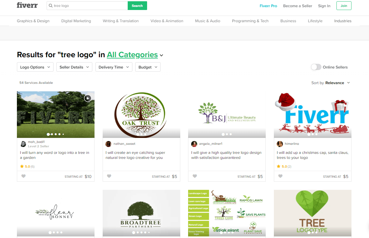 Fiverr screenshot - Tree logo designers