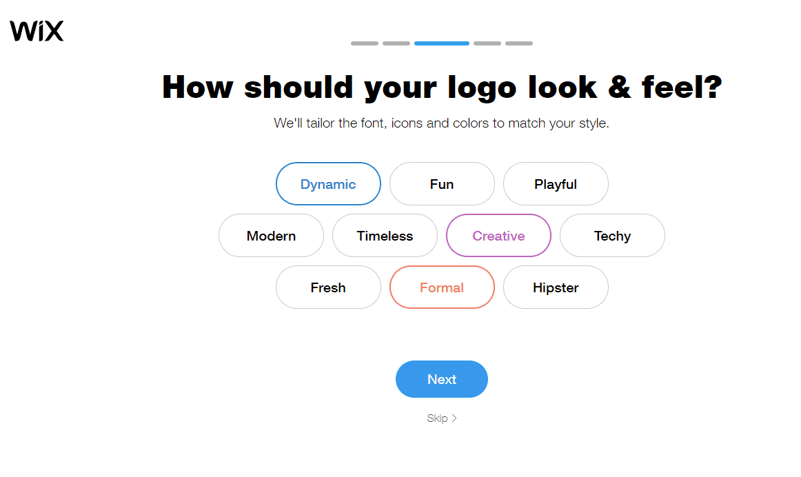 Wix Logo Maker screenshot - Logo look & feel