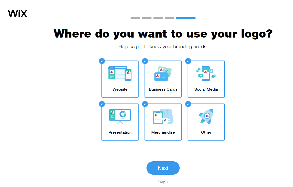 Wix Logo Maker screenshot - Where do you want to use your logo