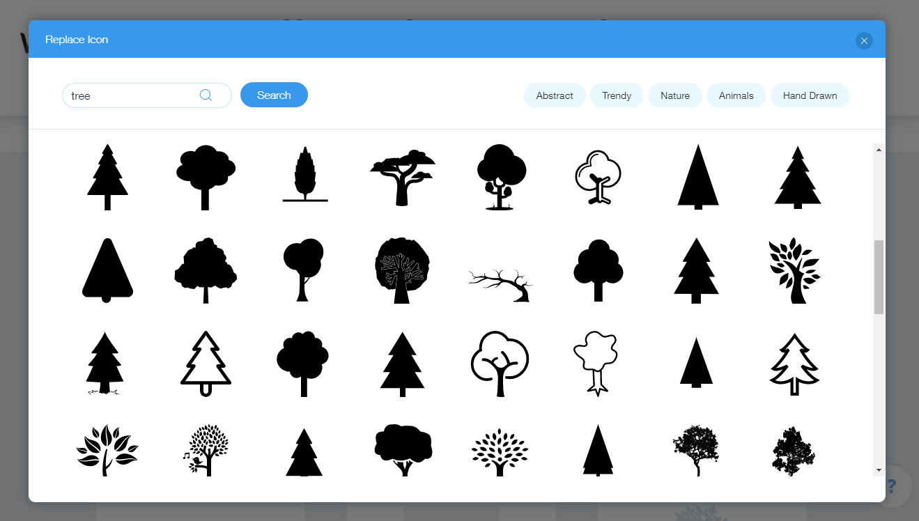 Wix Logo Maker screenshot - Tree icons