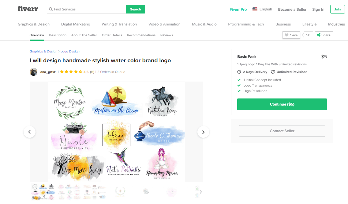 Fiverr screenshot - Designer profile