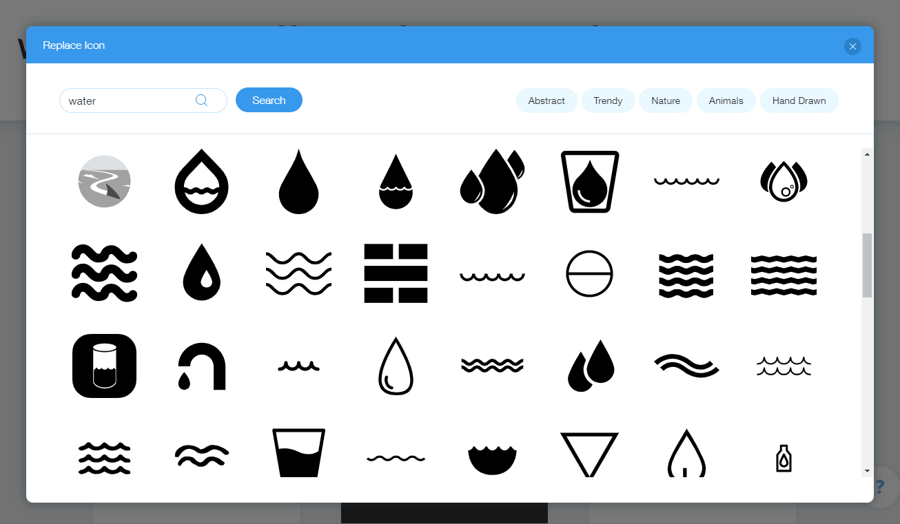 Wix Logo Maker screenshot - Water icons