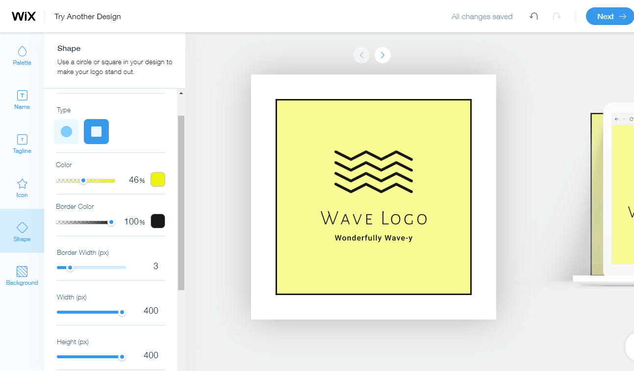 Wix Logo Maker screenshot - Wave logo editor