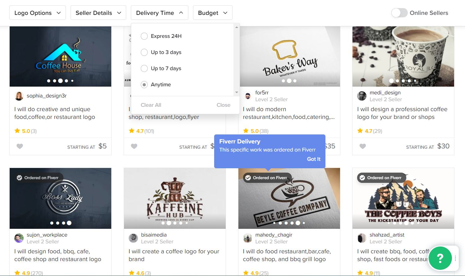 Fiverr screenshot - Coffee logo designers