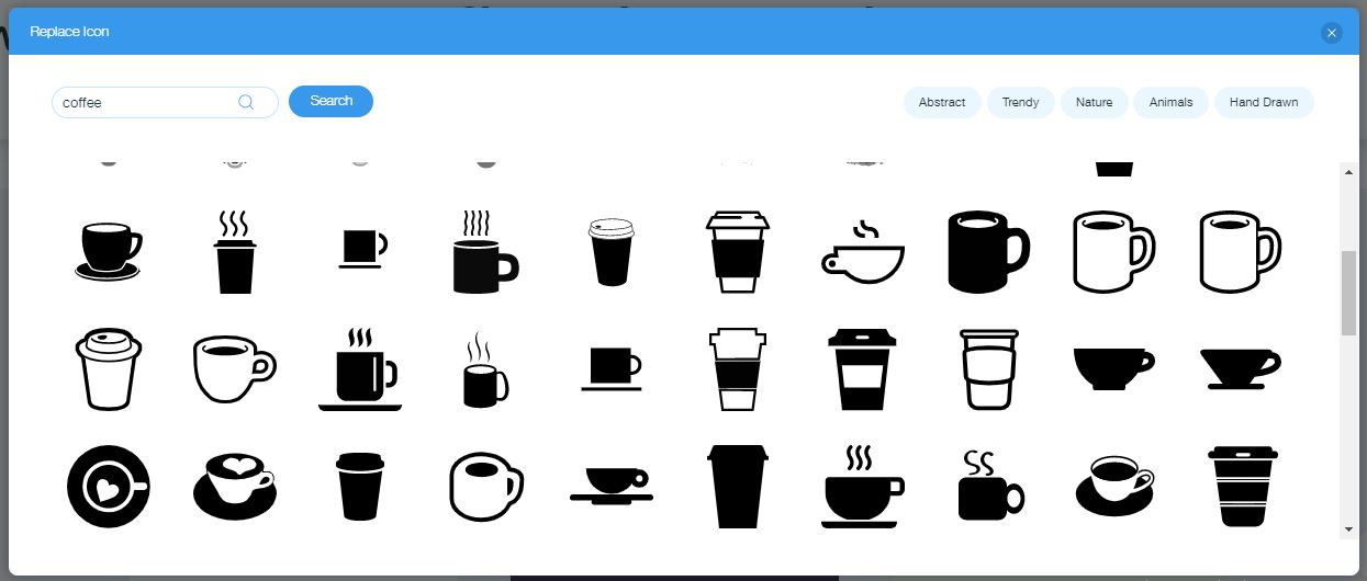 Wix Logo Maker screenshot - Coffee icons