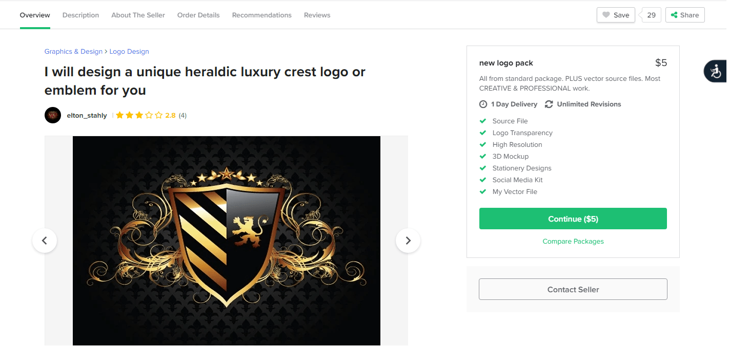 Fiverr screenshot - Crest logo package