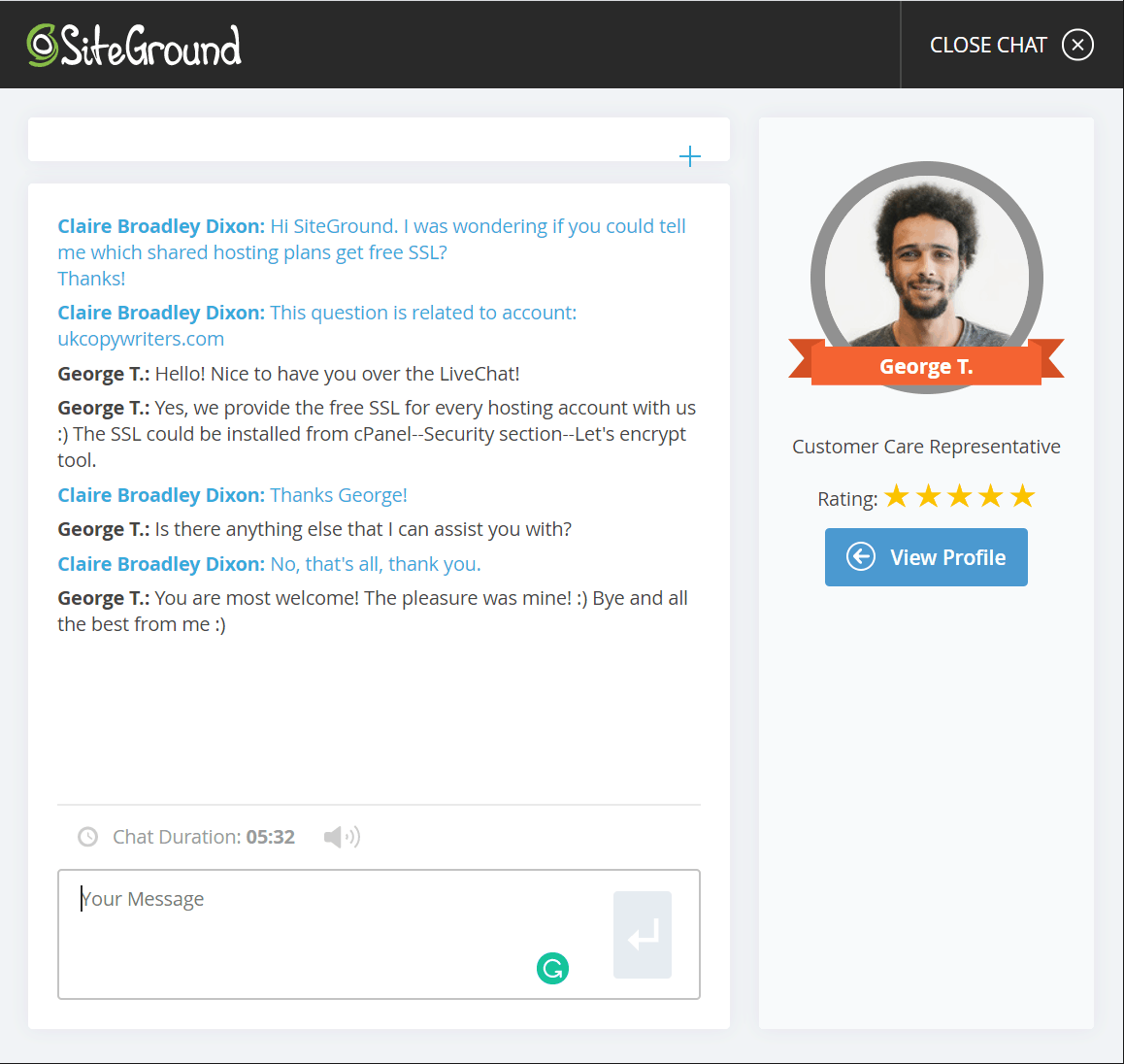 SiteGround support screenshot