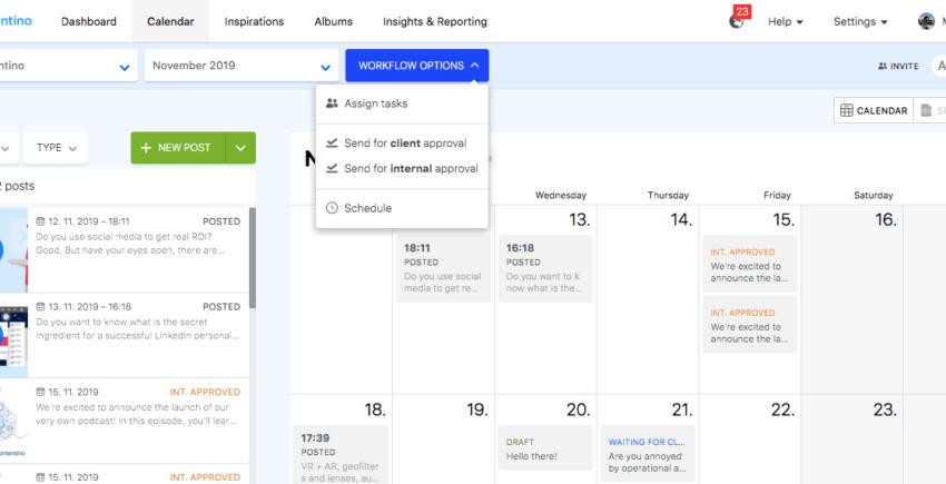 Kontentino calendar