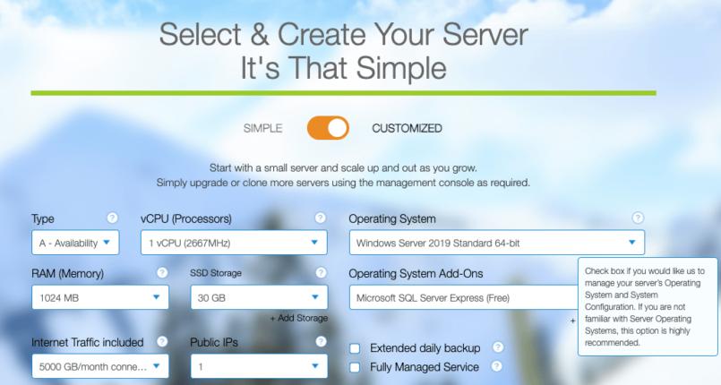 Kamatera's customizable Windows hosting plans
