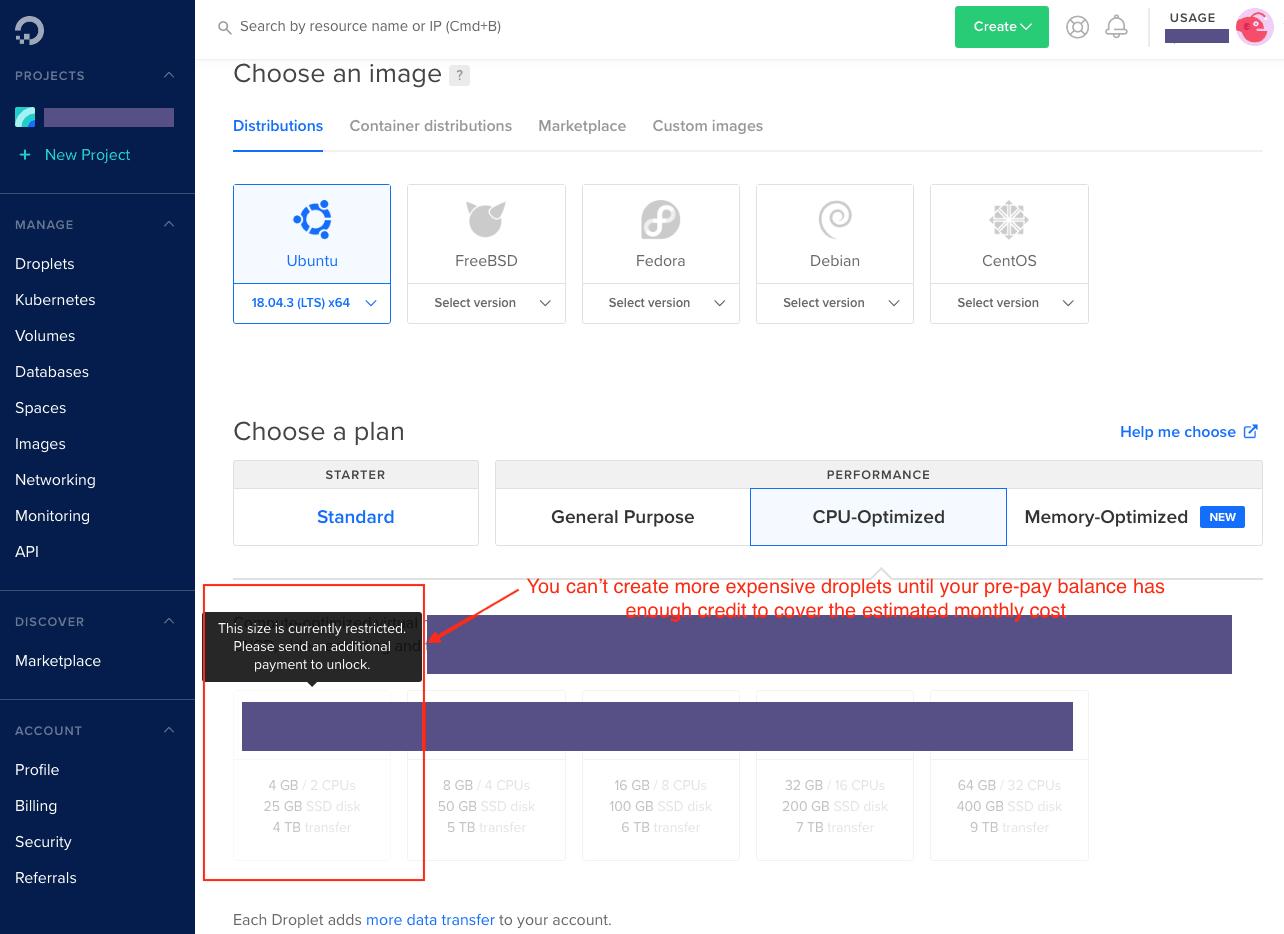 DigitalOcean's dashboard