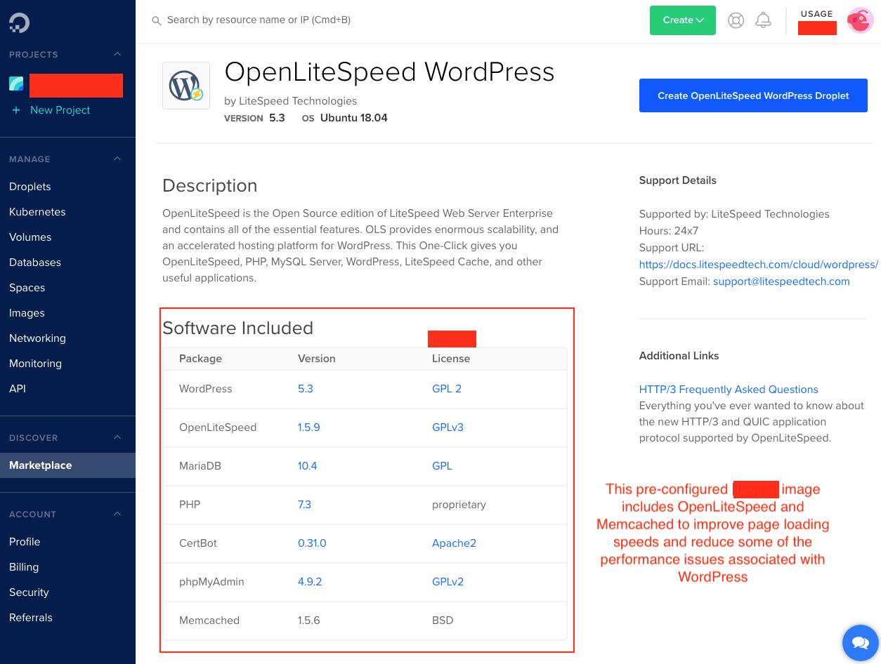 DigitalOcean's OpenLiteSpeed WordPress droplet