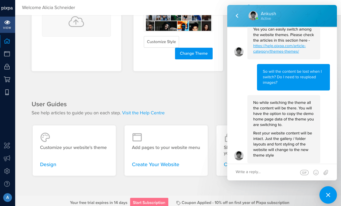 Pixpa chat support