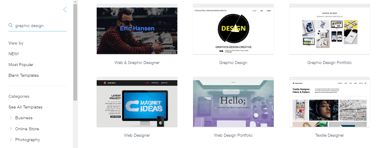 Wix templates for graphic designers