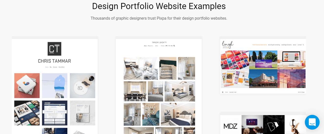 Pixpa design portfolio website examples