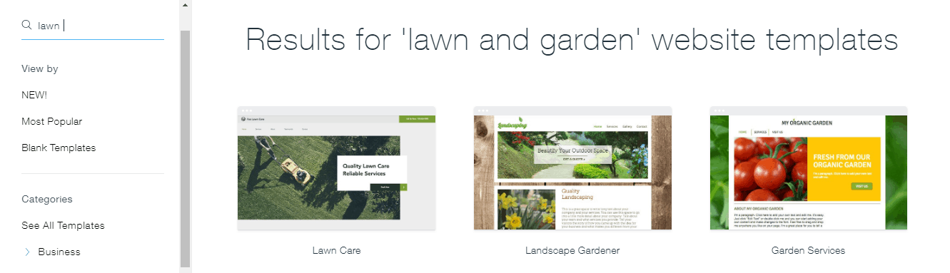 Wix - lawn and garden website templates