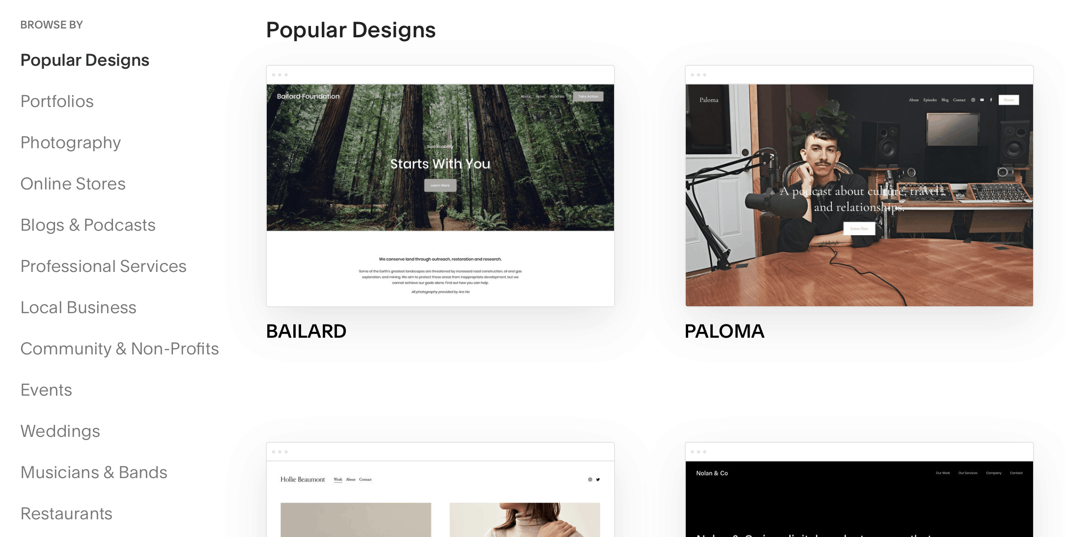 Squarespace - templates