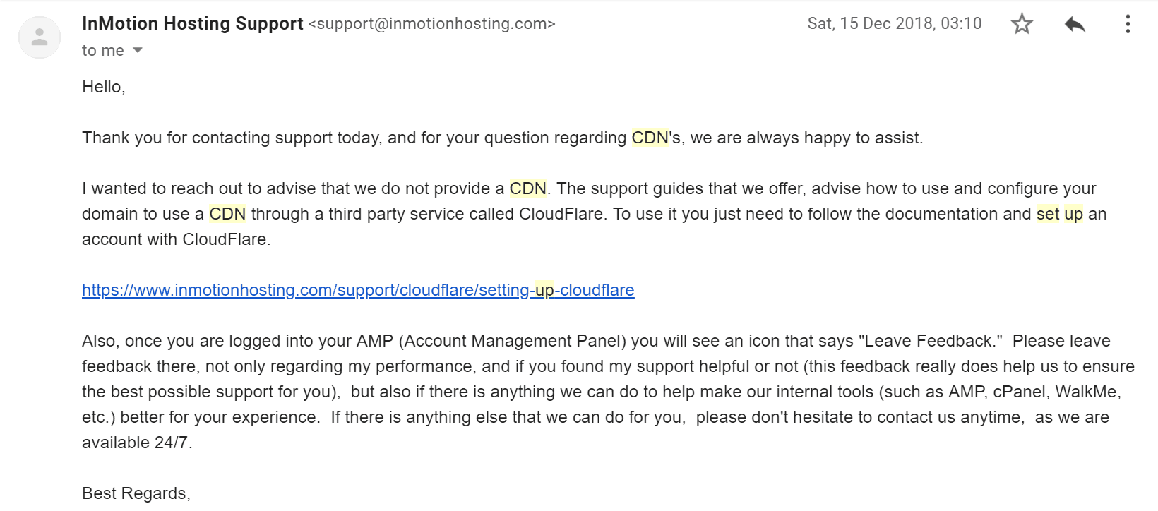 InMotion Hosting support email