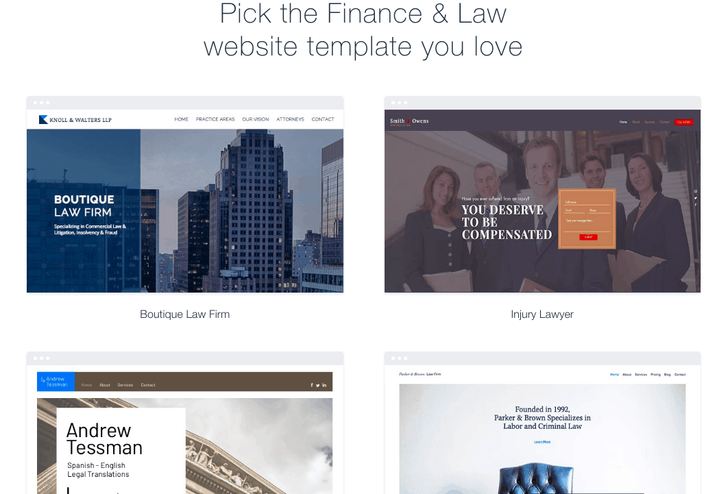 Wix - finance and law templates