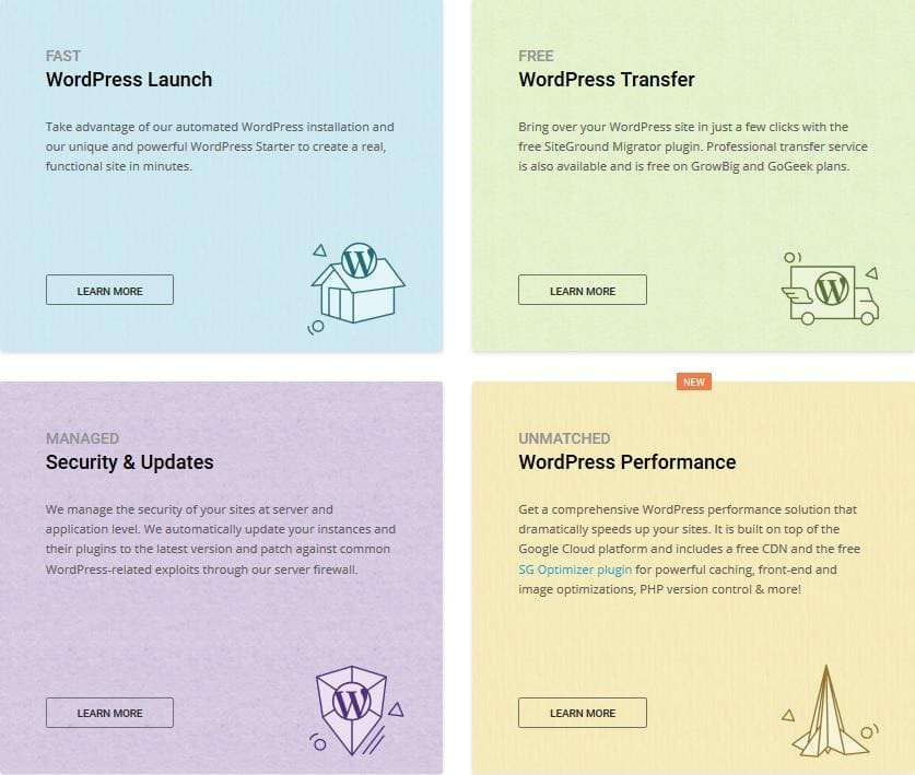 SiteGround - WordPress hosting options
