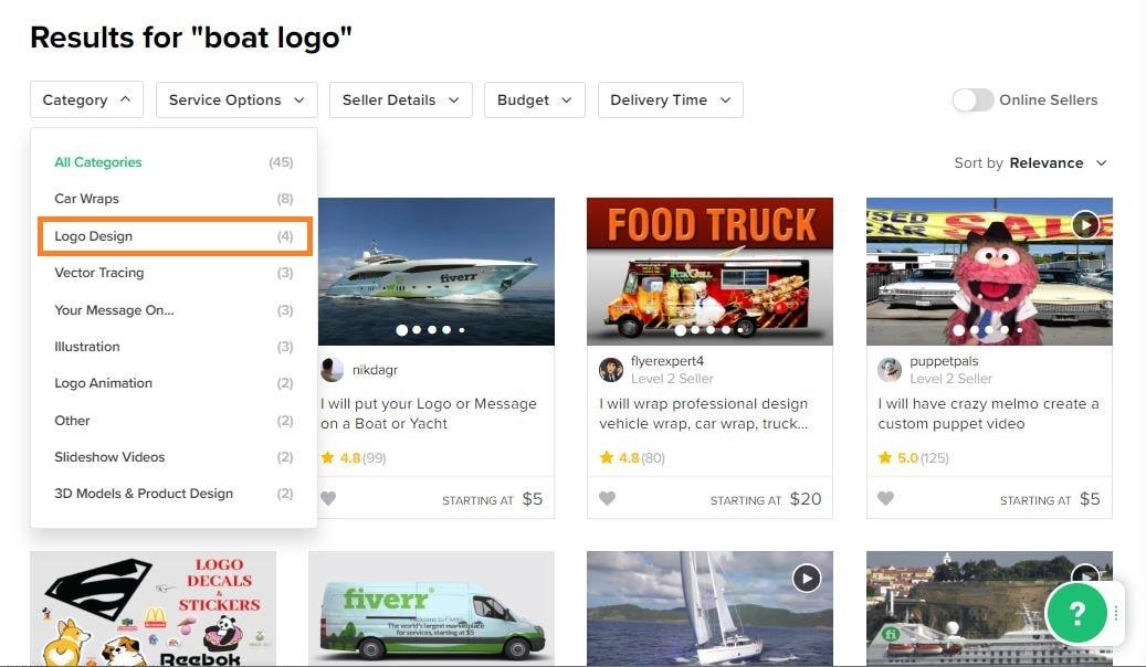 Fiverr screenshot - boat logo designers