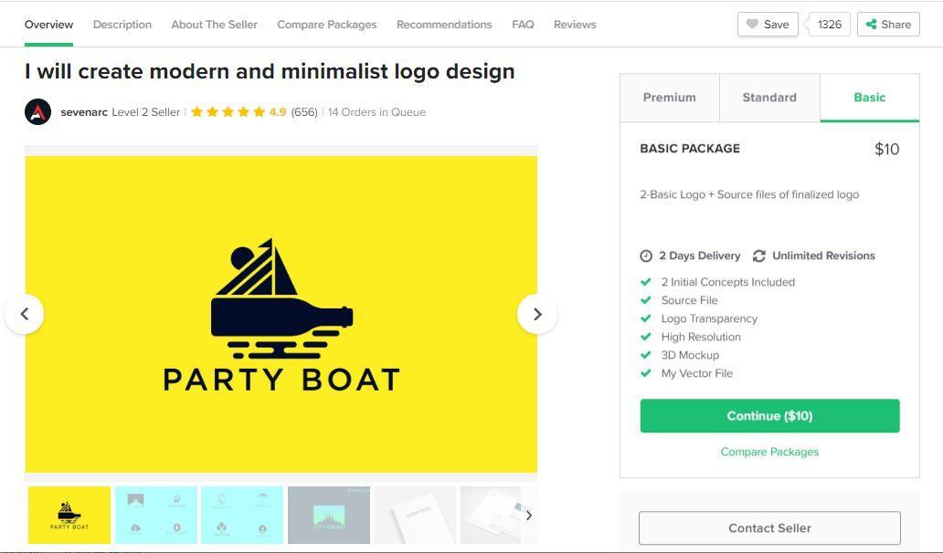 Fiverr screenshot - basic package outline