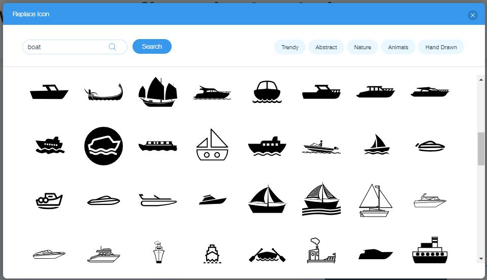 Wix Logo Maker screenshot - boat icons