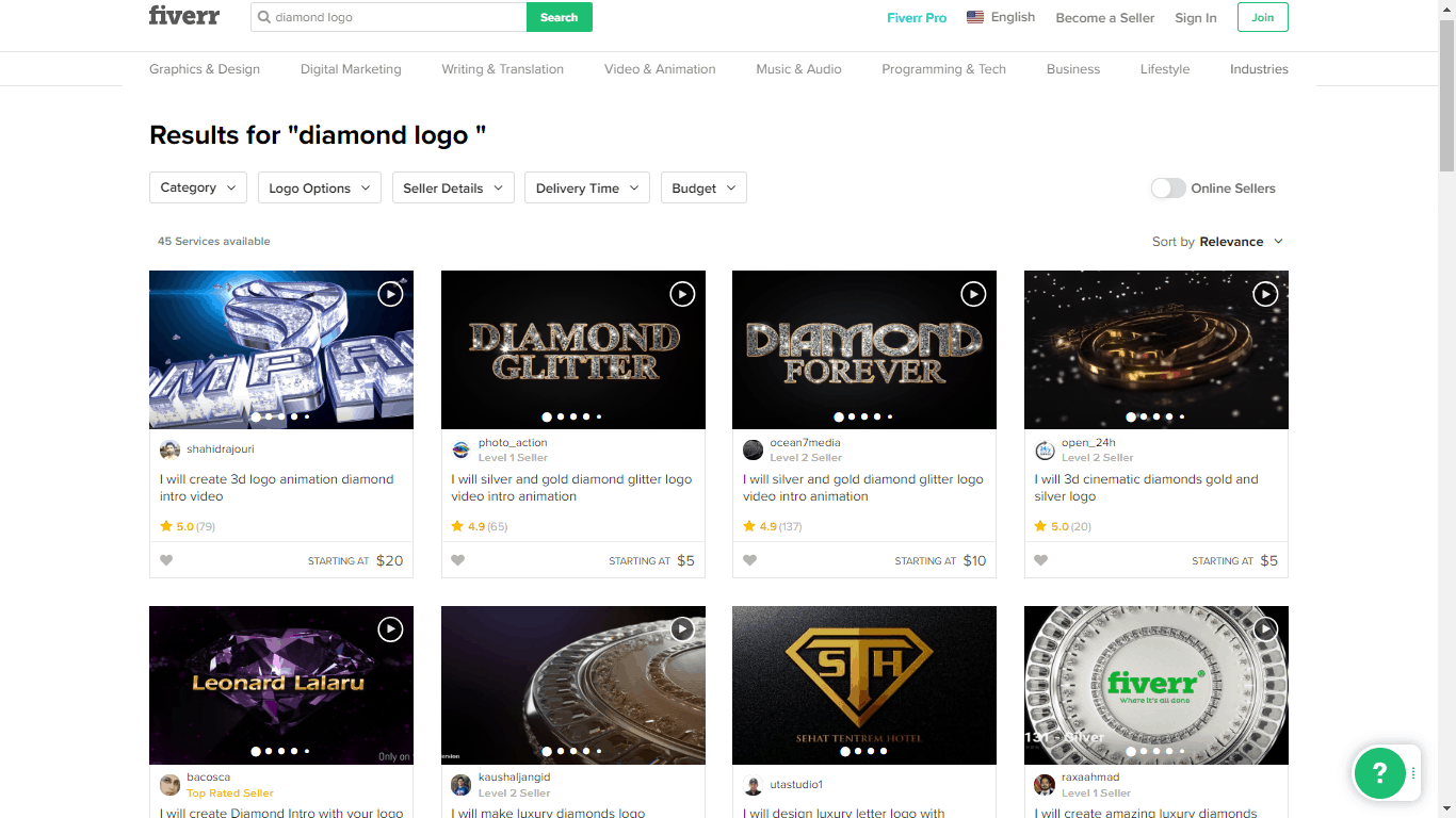 Fiverr screenshot - Diamond logo designers