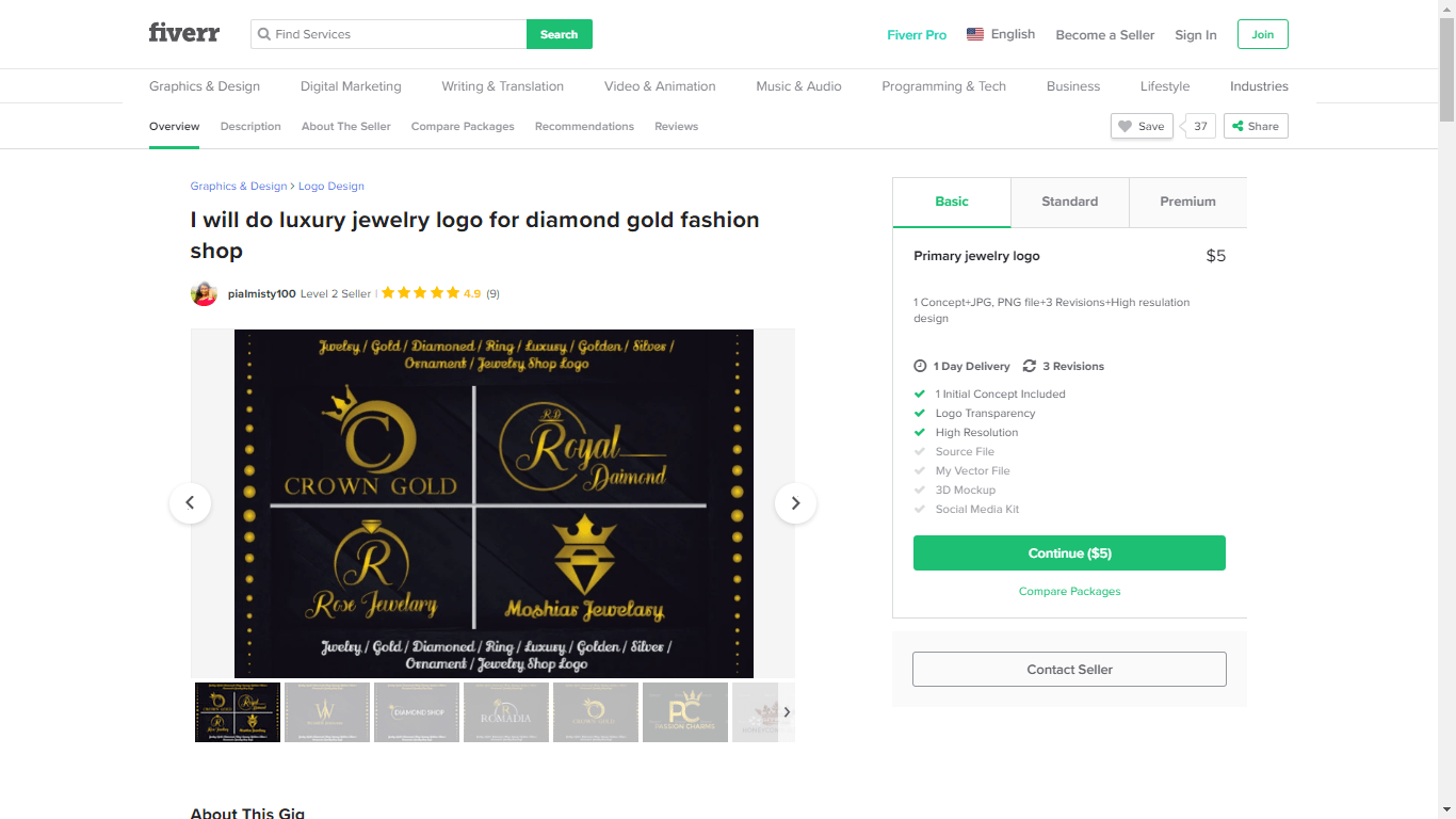 Fiverr screenshot - jewelry logo package